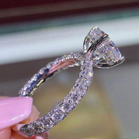 anéis de prata esterlina de safira de prata venda por atacado-Espumante 925 prata in14K ouro preenchido branco azul safira anel de noivado de noivado de casamento anéis de banda de jóias