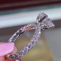 mavi safir elmas yüzük toptan satış-Köpüklü 925 ayar gümüş in14K altın dolgulu beyaz mavi safir pırlanta yüzük nişan gelin düğün band yüzük takı