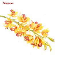 künstliche orchideen blüht köpfe großhandel-Real Touch Cymbidium 21 Köpfe hoch Tischdekoration Blumen DIY Hochzeit Braut Handblumen Home Decor Künstliche Orchideen-Fälschungs-Anlage
