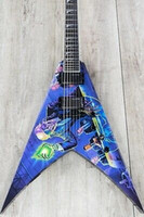 emg guitarra elétrica venda por atacado-Personal Shop Hand Painted 24 Jack Dean Blue Flying V Electric Guitar Copy EMG Pickup, Black Hardware, Pearl Shark Fin Inclay