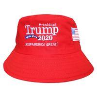 sombreros de pescadores al por mayor-Trump 2020 Casquillo del cubo bordado Keep America Great Hat Algodón Deporte Pescador Cap Fashion Travel Camping Sun Hat TTA896