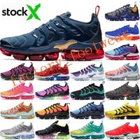 Wholesale white sneakers for sale - Group buy 2020 Stock X Vapors TN Plus Midnight Navy Black Volt Mens Running Shoes Air Cushion Designer Sports Sneakers Mens Trainers Maxes Size