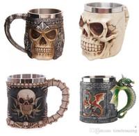 copo de café do dragão venda por atacado-Personalizado de Parede Dupla de Aço Inoxidável 3D Canecas Crânio Caneca de Café Caneca Cavaleiro Crânio Caneca Caneca de Dragão Drinking Cup Fantasia Decorações