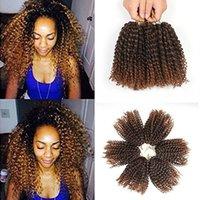 afro kinky curl saç uzantıları toptan satış-Sıcak Satış Malibobo Tığ Saç 3 Adet / takım 8 inç Afro Kinky Curl Marly Örgüler Saç Kadınlar Için Sentetik Örgü Jerry Kıvırcık Saç Uzantıları