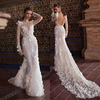 Wholesale white crystal wedding dress for sale - Group buy 2020 Sexy Berta Ivory Wedding Dresses Lace D Flowers Sheer Long Sleeves Sexy Backless Beach Wedding Bridal Gowns Court Train