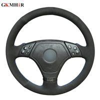 ingrosso coperture di volante in pelle scamosciata nera-GKMHiR fai-da-te nero cucito a mano marcatore blu copri volante in pelle scamosciata nera per E36 E46 E39