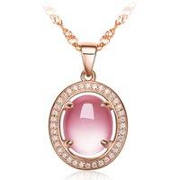 rosa liebe kristall anhänger großhandel-D338 set mit weißem kristall silber halskette weibliches mädchen hibiscus stein schmuck anhänger großhandel liebe schieben rosa ellipse