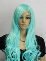 ingrosso parrucca riccia riccia lunga blu-Parrucche piene del partito di Cosplay dei capelli delle signore della parrucca blu resistente al calore lunga delle donne libere di trasporto della parrucca