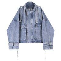 erkek danteli ceket toptan satış-Erkek ceketler Moda Klasik Denim Ceket Big Cep Lacing Bandaj Tasarımı Sokak Giyim Gevşek Ceket M-XL Yıkanmış