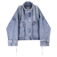 ingrosso giacca di merletto del mens-Mens rivestimenti di modo classico Giacca di jeans Big Pocket allacciatura Bandage design lavato via Abbigliamento casacca M-XL