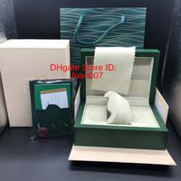 ingrosso fornitori di cuoio-Fornitore di fabbrica di alta qualità verde scatola di carte regalo di orologi scatole di cuoio carta per 116610 116660 116710 116613 116500 scatole di orologio
