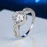 белое золото бриллиантовая коронка оптовых-14K белое золото инкрустированное негабаритное кольцо из драгоценных камней мода корона кольцо с бриллиантом жених и невеста кольцо день рождения ожерелье