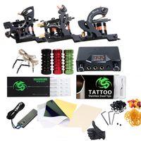 Wholesale tattoo needles line resale online - Professional Tattoo Kit Machines Tattoo Lining And Shading Guns Inks Power Supply Needles Tattoo Set