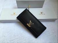 echtes leder lange mann brieftasche großhandel-2019 Hot Fashion Designer Frauen Clutch Echtes Weibliches Leder Männer Lange Geldbörsen Brieftasche Mit Box
