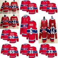 maillot rouge 13 achat en gros de-Nouveaux Canadiens de Montréal 2018 6 Shea Weber 31 Carey Price 11 Brendan Gallagher 13 chandails de hockey sur glace Max Domi cousus