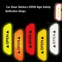 Wholesale auto stickers bikes for sale - Group buy Car Door Stickers Universal Safety Warning Mark OPEN High Reflective Tape Auto Exterior Motorcycle Bike Helmet Sticker set