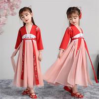 encaje infantil naranja al por mayor-Los niños visten el vestido de hanfu tradicional de las niñas, los niños, los antiguos chinos, el vestido de hanfu, la vestimenta de tang, la ropa para niña, la ropa de baile, los disfraces.