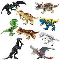 niño rex al por mayor-Jurassic Dinosaur World T-Rex Polar Bear Raptor Triceratops Carnotaurus Pterosaur Indominus Rex Figura de gran tamaño Bloque de construcción de juguetes para niños