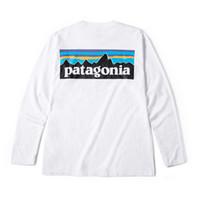 erkekler için uzun kollu gömlekler toptan satış-Dağ patagonya Erkekler Tasarımcı T Shirt Bahar Güz Beyaz Baskı Moda Tişörtleri Uzun Kollu Tees Tops