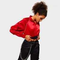 chaqueta de chicas sash al por mayor-Chaquetas rojas calientes de moda Mujeres Harajuku Abrigo suelto Primavera Top Streetwear Hipster Chica Sash Hebilla Hip Hop Ropa interior abrigada