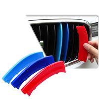 elektrik şeritleri toptan satış-3 adet 3D Araba Ön Izgara Trim Şeritler Kapak Motorsport Çıkartmalar BMW F30 F10 3 5 Serisi M Güç Performansı aksesuarları