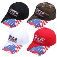 Wholesale cap stars for sale - Group buy Donald Trump Baseball Cap Make America Great Again hat Star Striped USA Flag print sports outdoor cap LJJA3625