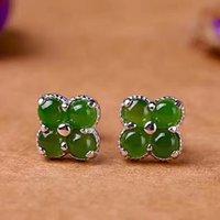 ingrosso borchie in orecchino nero-Jadery Classic Dark Green Jade orecchini per le donne 925 Articoli da regalo Argento Orecchini bijoux femme 2019 offerte Venerdì nero