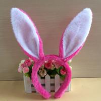 ingrosso coniglietto coniglio orecchini fascia-Easter bunny peluche copricapo Plush Bunny Ears Fascia orecchi di coniglio carino Hairbands per la festa di Pasqua Decor Decor Copricapo Costume Cosplay