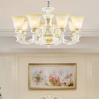Wholesale cottage style kitchens resale online - American style luxury vintage resin chandelier lighting glass chandelier lights retro led pendant lamps for living room bedroom dinning room