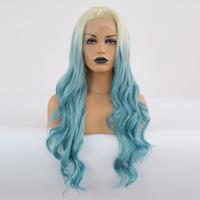gravata do ombre venda por atacado-Fibras resistentes Atacado Corpo Curly peruca dianteira do laço Ombre cabelo azul calor Lace sintética peruca da parte dianteira Glueless Metade mão amarrada para todas as mulheres