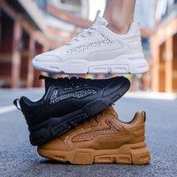 zapatillas blancas de hip hop al por mayor-2019 ata para arriba el inferior grueso Deportes blancos zapatos de los hombres zapatos corrientes de las zapatillas de deporte al aire libre Adulto zapatillas de deporte de los hombres de Hip Hop Streetwear