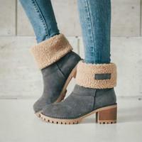 botlar kürk kalın topuk toptan satış-Yeni Kadın Çizmeler Kış açık Sıcak Kürk Çizmeler tutmak Su Geçirmez kadın Kar Botları yuvarlak kafa kısa boot ile Kalın topuk
