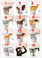 copo de café dos desenhos animados 3d caneca venda por atacado-Criativo 3D Pintados À Mão Animal de Cerâmica Canecas de Café Dos Desenhos Animados 3D Leite Animal Copos LOGOTIPO Personalizar Frete Grátis