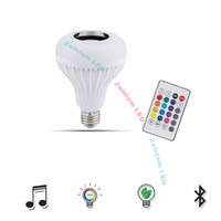 Wholesale music speaker square for sale - Group buy RGB color changing Bluetooth Light Bulb Speaker Smart LED Music Lamp with with Updated Remote Control