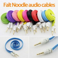 câble de rallonge plat pour nouilles achat en gros de-3.5mm AUX Flat Noodle câbles audio mâle à mâle 1m 3ft Stéréo Car Extension câble audio pour MP3