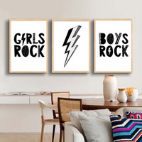 Wholesale bedroom wall art for girls for sale - Group buy Girls Boys Rock Flash Shape Wall Art Prints Poster For Kids Bedroom Modern Wall Picture Modular Canvas Painting For Home Decorat