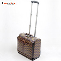 Wholesale travel rolling luggage for sale - Group buy 16 inch Cabin Rolling Luggage Travel Suitcase Grid pattern Case with Laptop Bag cm wheel Trolley PU Leater Box