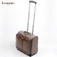 ingrosso valigia modello-Valigia da viaggio da 16 pollici, bagaglio da viaggio, modello con griglia, borsa per laptop, 41 * 38 * 22 cm trolley da trasporto PU