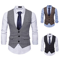 ingrosso tipi maschile-Cool2019 Autumn Goods Clothing Fund Plover Grid Single Row Buckle Type Male Suit Vest M Af