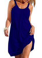 ingrosso maniche senza maniche-Camisunny Women Summer Casual allentato Mini abito senza maniche Costume da bagno bikini da spiaggia Cover up