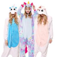 unicórnio kigurumi adulto venda por atacado-Adultos Animais Kigurumi Pijamas Conjuntos Pijamas Cosplay Zipper Mulheres Homens Inverno Unisex Panda Stitch Unicórnio Dos Desenhos Animados Pijama