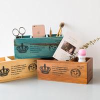 caixa de madeira moderna venda por atacado-Caixa de Armazenamento De Design moderno Escaninhos De Desktop Decoração Mantimentos caixa de armazenamento de madeira sólida caixa de jóias de madeira