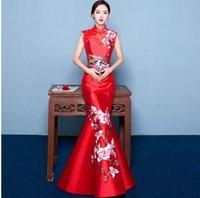 ingrosso coda chiffona corta coda-2019 Mermaid Tail stile asiatico Manica corta Moda Red ricamo sposa matrimonio Qipao lungo cheongsam cinese tradizionale abito retrò