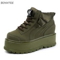 koreanische höhenschuhe großhandel-Stiefel Frauen Lace-Up Höhe Zunehmende Stiefel Korean Ulzzang Baumwollgewebe Lässige High Heels Schuhe Damenmode Hohe Qualität Warme