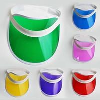 uv sun visor hats 도매-태양 바이 저 2019 여름 투명 한 다채로운 플라스틱 PVC 태양 바이 저 모자 UV 보호 양산 바다 비치 모자