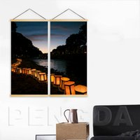 Wholesale night view painting for sale - Group buy Home Decoration Canvas Print Piece River Lamp Night View Painting Wall Art Solid Wood Hanging Scrolls Poster For Living Room