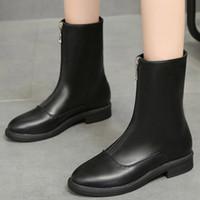 düşük topuklu gece ayakkabıları toptan satış-Kadın Deri Çizme Orta Tüp Boot 2019 Ofis Lady Şık Sonbahar Kış Düşük Topuk Ayakkabı Akşam Parti Klasik Botaş Casual Yeni
