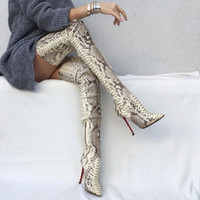Wholesale boots red color resale online - Color Snake Overknee Sharp Sexy High Nightclub Boots Boots