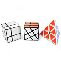 cubo de espelho 3x3x3 venda por atacado-Speed Wheel Cube Set Pyramid Espelho velocidade Cube Bundle, Conjunto de 3 Magic Cube puzzle Brain Teaser Brinquedos Educativos