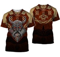 Wholesale women sleeve tattoos for sale - Group buy Factory Viking King Tattoo Art Skull T Shirt Plus size Women Men Pirates D Print T shirts Short Sleeve Casual Tops XS XL